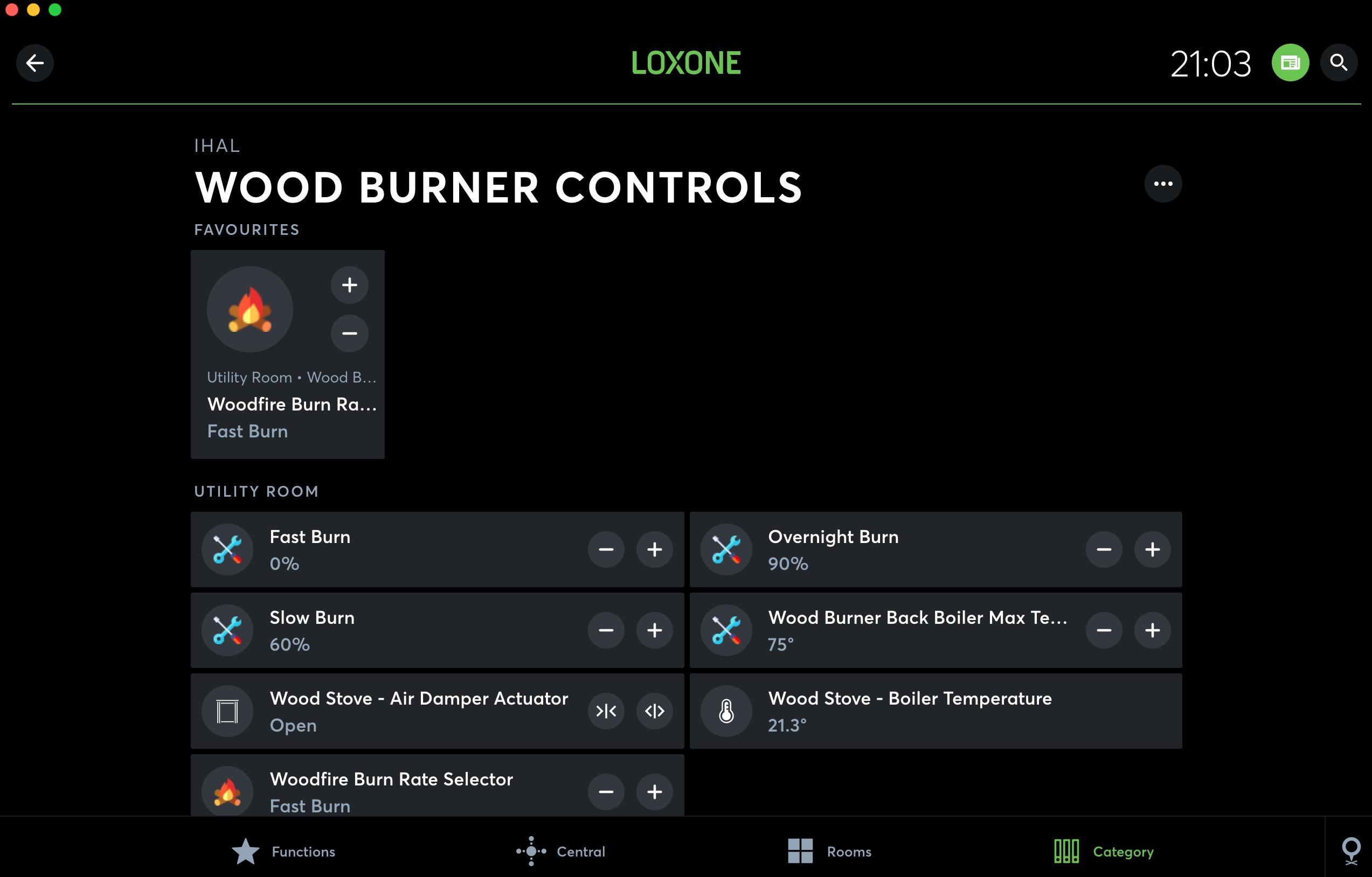 Loxone EX22 Wood burner. The Gas alternative